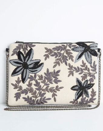 Darina embroidered and beaded floral shoulder bag with chain black.
