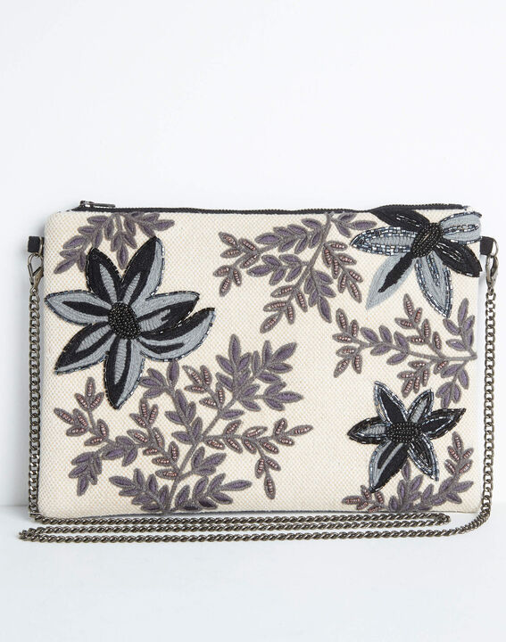 Darina embroidered and beaded floral shoulder bag with chain (2) - 1-2-3