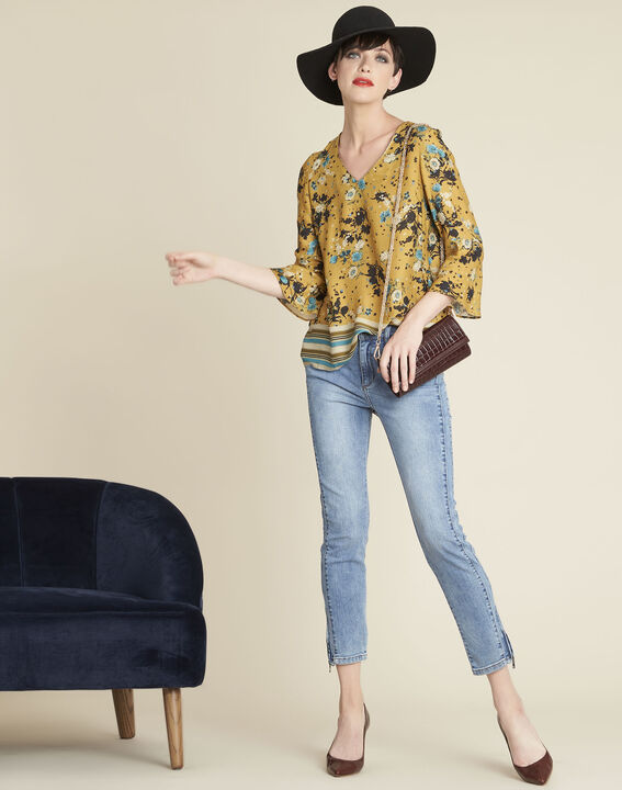 Enrica yellow floral printed blouse (3) - 1-2-3