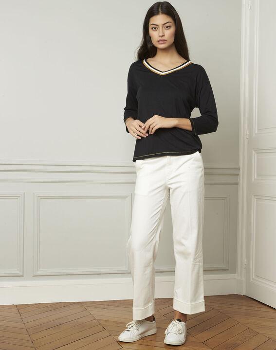 schwarzes T-Shirt mit originellem Ausschnitt Philomene (2) - Maison 123