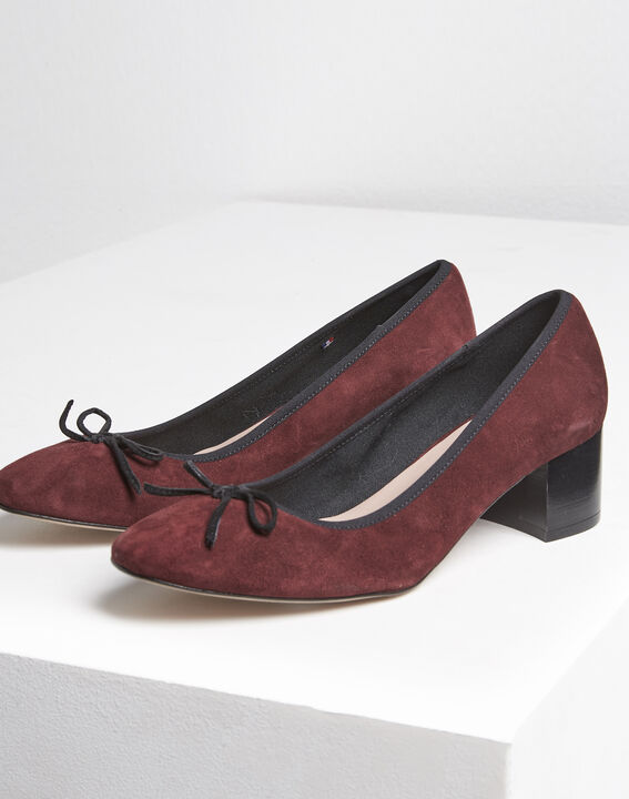 Kalista burgundy suede leather ballet flats with heel (3) - Maison 123