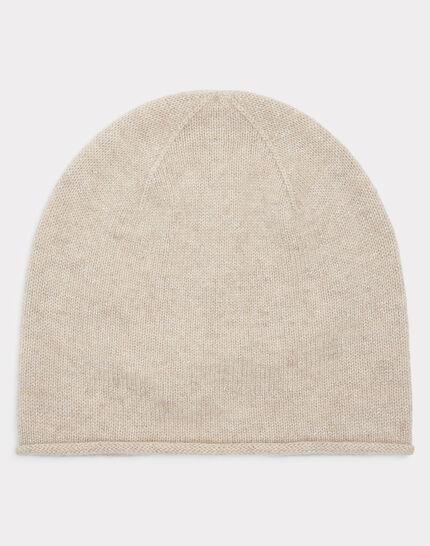 Beigefarbene glänzende Kaschmir-Mütze Tilleul bis (1) - 1-2-3