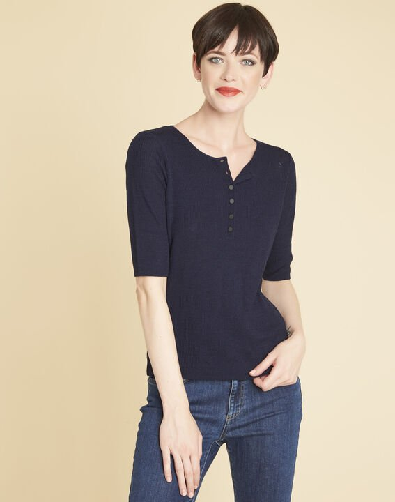 Basso fine-knit navy blue sweater with buttoned neckline (1) - Maison 123