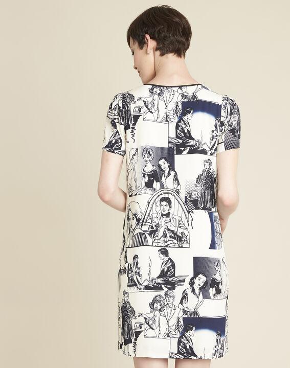 Diking navy blue printed dress (4) - 1-2-3