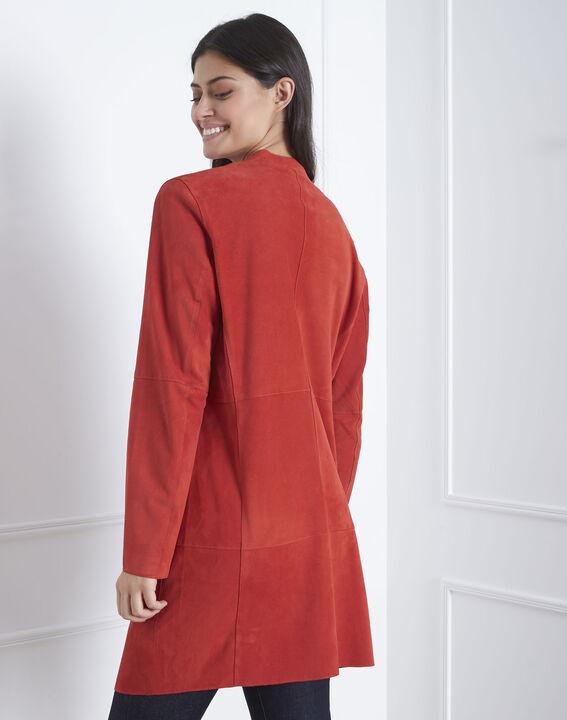 Manteau rouge col chale cuir velours Dgaston (4) - Maison 123