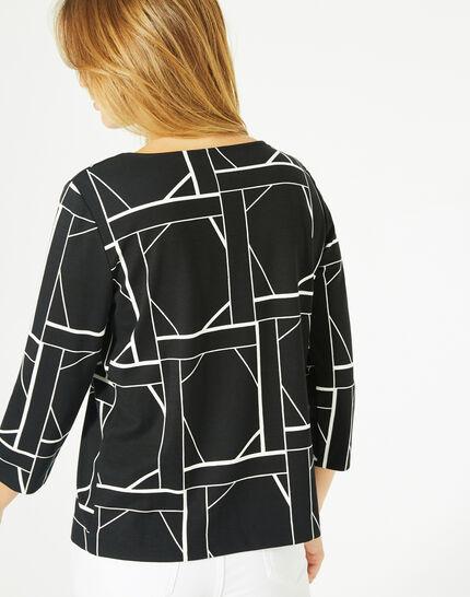 Tee-shirt noir imprimé graphique Losange (5) - 1-2-3