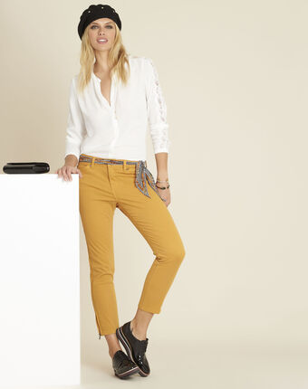 Ecrufarbene bluse mit spitzeneinsätzen claudia ecru.