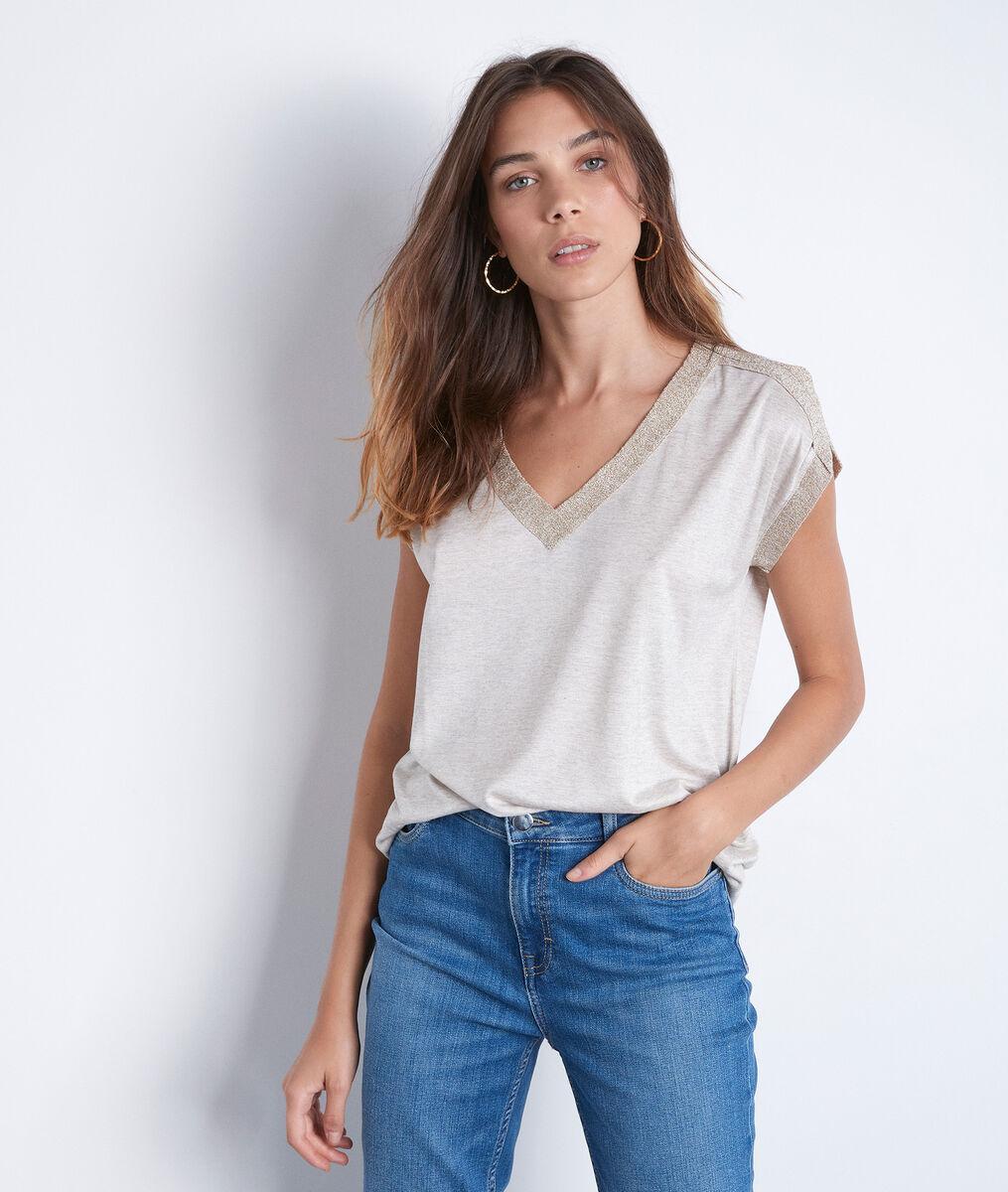 Tee-shirt col V à détails lurex beige Irene PhotoZ | 1-2-3