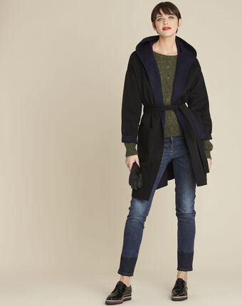 Manteau noir réversible bleu en laine elan noir.