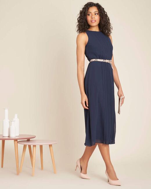 Marineblaues mittellanges Plissée-Kleid Isabella (1) - 1-2-3
