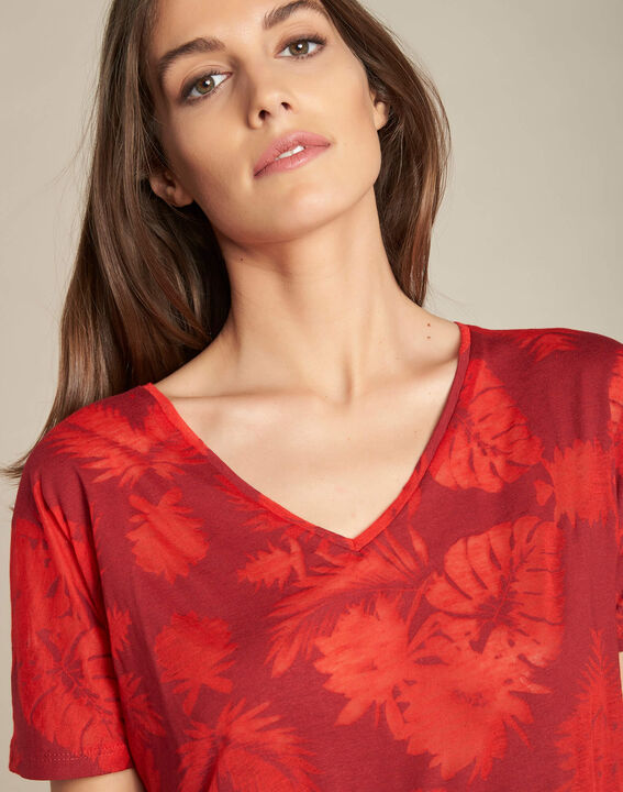 Rotes T-Shirt mit Palmenprint Eflore PhotoZ | 1-2-3