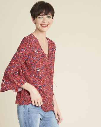 Constance pink floral blouse with laced neckline raspberry.