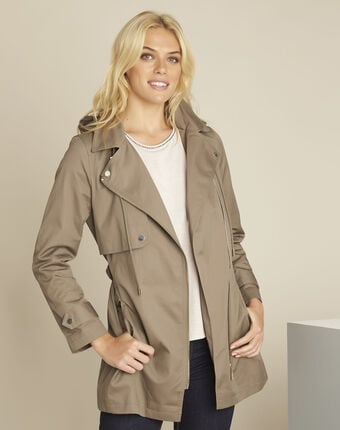 Ella khaki cotton trenchcoat leaf.