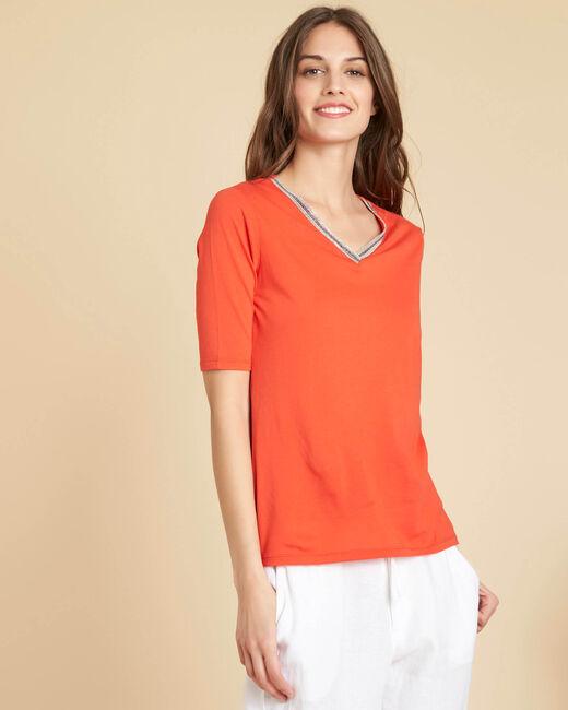 Tee-shirt rouge encolure fantaisie Eshine (2) - 1-2-3