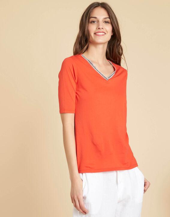 Tee-shirt rouge encolure fantaisie Eshine (3) - 1-2-3