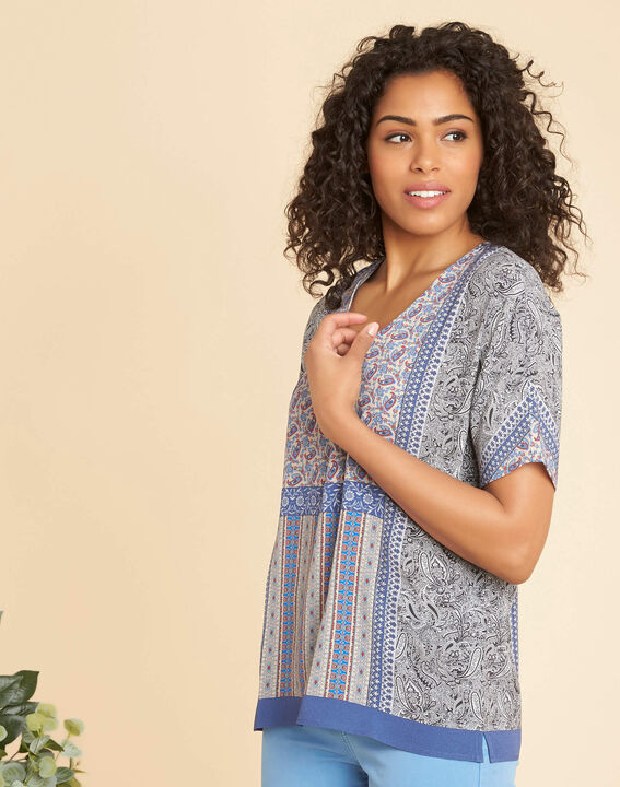 Romy blue printed blouse (3) - 1-2-3