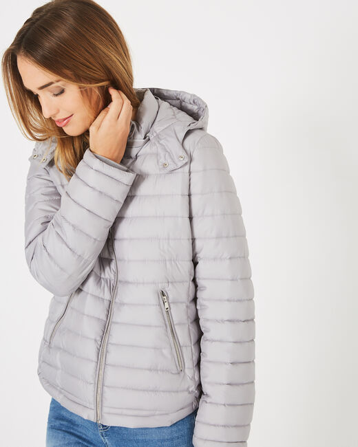 Louise short quilted jacket in silver with a rounded collar (1) - 1-2-3