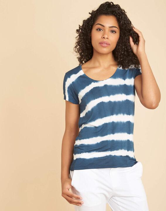 """Blaues Streifen-T-Shirt mit """"Tie-Dye""""-Effekt (3) - 1-2-3"""