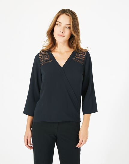 Dame navy blue lace and guipure blouse (3) - 1-2-3