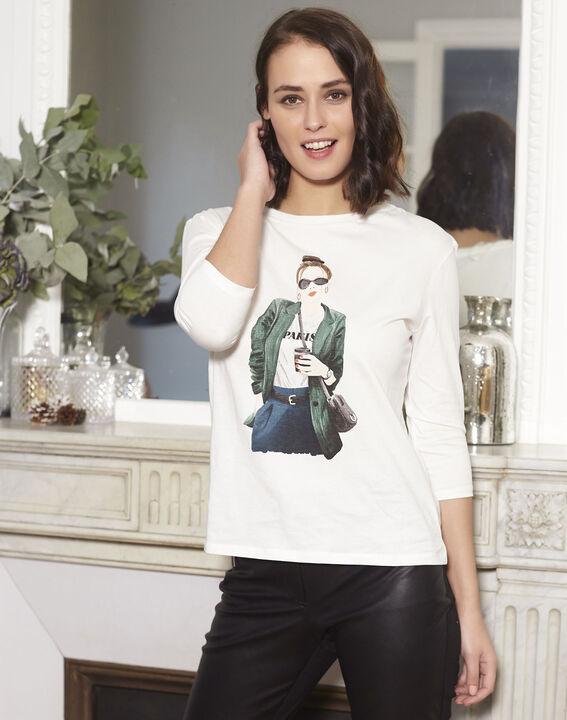 Gloria ecru printed T-shirt (2) - 1-2-3