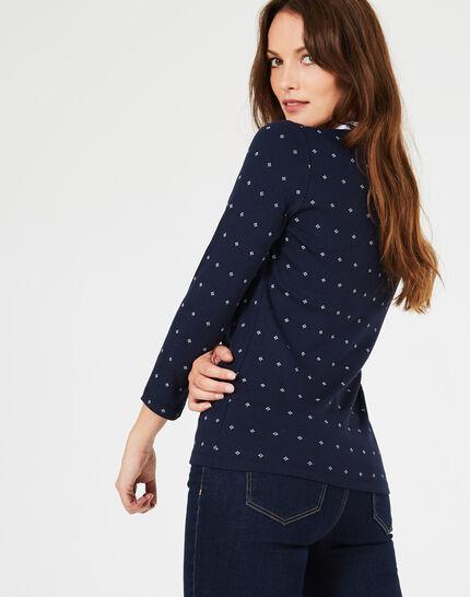 Tee-shirt bleu marine imprimé col contrasté Bowling ter (1) - 1-2-3