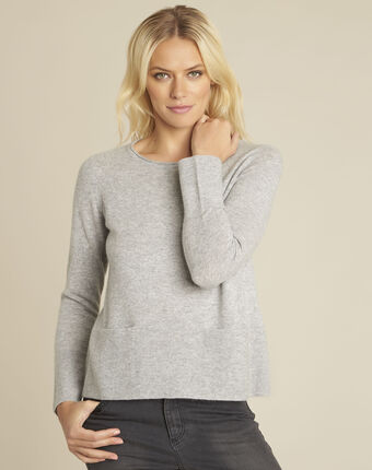 Pull gris cachemire poches brume chine clair.