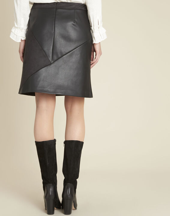 Abby black trapezoid faux leather skirt (4) - 1-2-3
