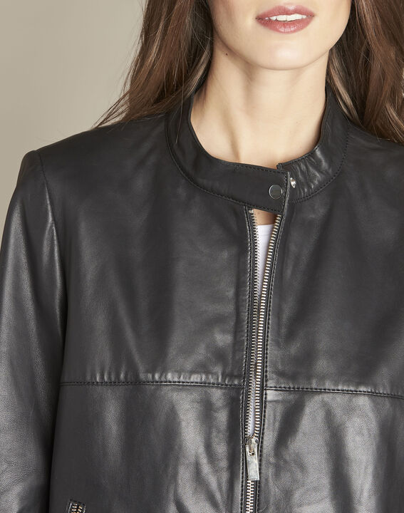 Kurze schwarze Lederjacke Tibo (2) - 1-2-3