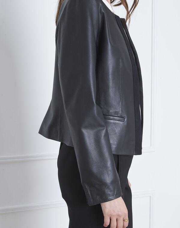 Veste noire en cuir gros grain Charme (2) - 1-2-3