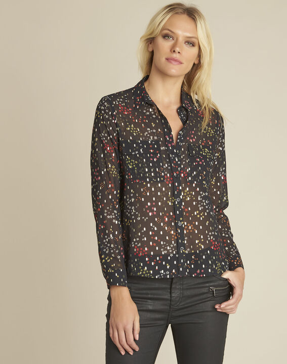 Corentine black printed blouse PhotoZ | 1-2-3