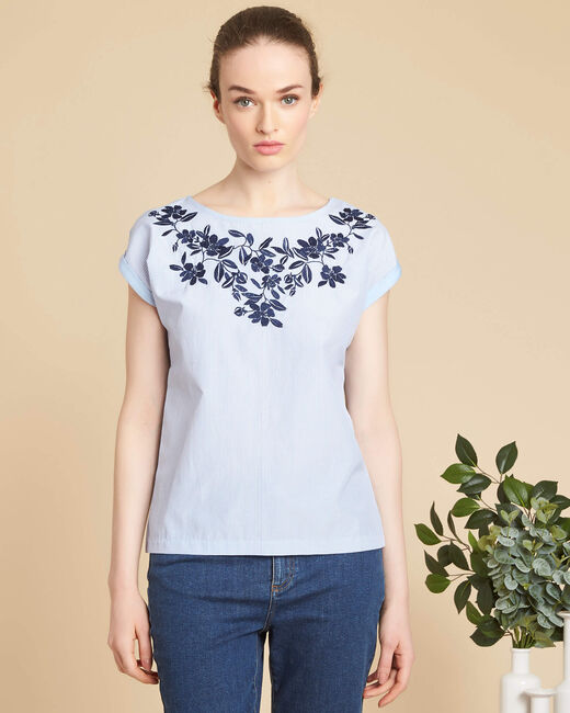 Eryse blue striped top with embroidered neckline (2) - 1-2-3
