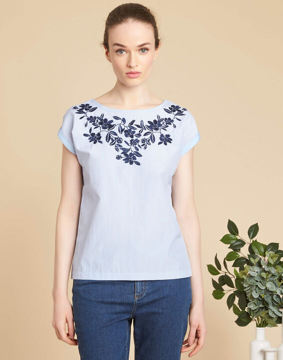 Eryse blue striped top with embroidered neckline (3) - 1-2-3