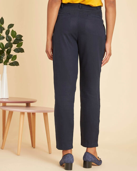Safari navy trousers with a lovely drape and tie belt (2) - 1-2-3