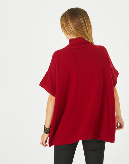 Passiflore Red cashmere cape with polo neck (5) - 1-2-3