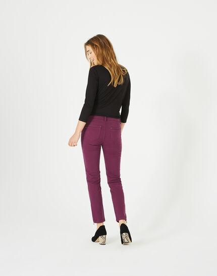 Pia blackcurrant 7/8 length satin trousers (5) - 1-2-3