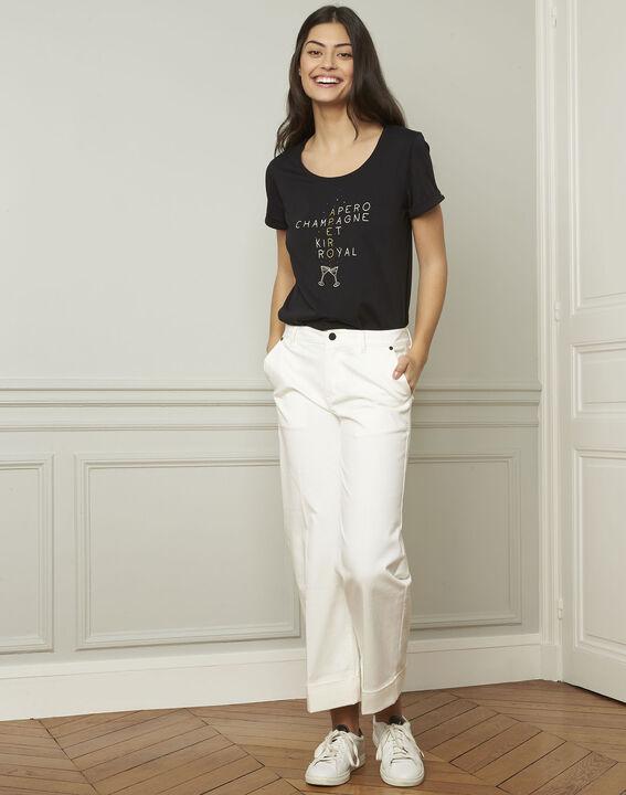 Gala black screen-printed T-shirt (2) - 1-2-3