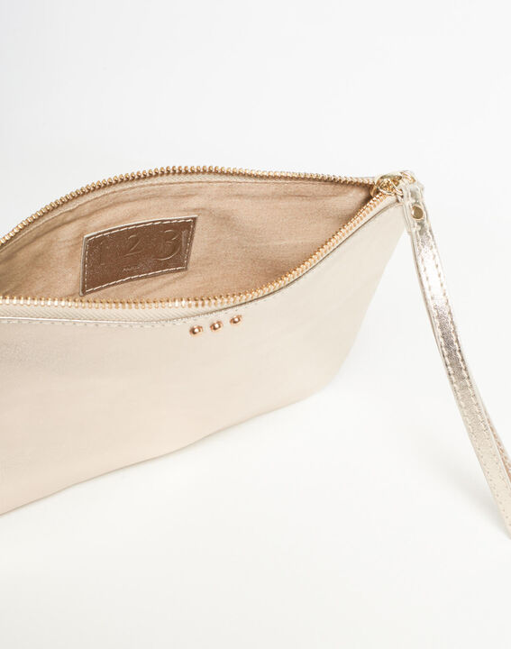 Droopy metallic clutch with leather straps (4) - 1-2-3