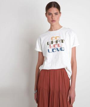 Tee-shirt en coton biologique à message ivoire Envol