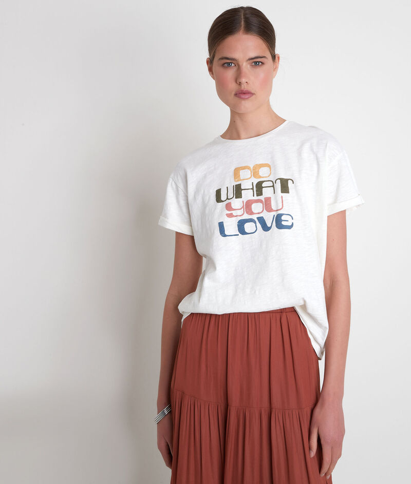 Tee-shirt en coton biologique à message ivoire Envol PhotoZ | 1-2-3