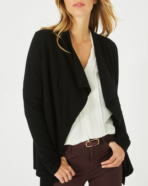 Primevère black cashmere waterfall cardigan (2) - 1-2-3