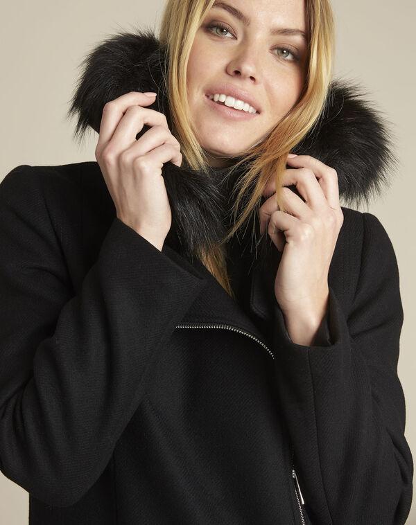 Manteau noir col perfecto en laine Oryane (2) - 1-2-3
