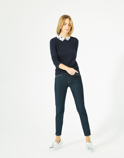 Poppy cashmere and wool navy blue sweater (1) - 1-2-3