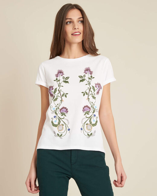 Edelweiss white T-shirt with embroidered detailing (2) - 1-2-3