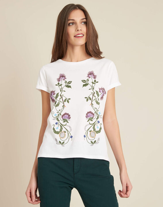 Edelweiss white T-shirt with embroidered detailing (3) - 1-2-3