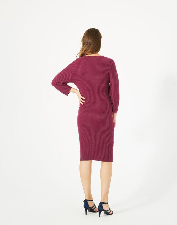 Cassisfarbenes Kleid aus Woll-Mix Altesse (4) - 1-2-3