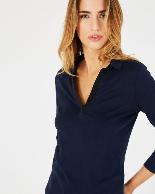 Tee-shirt bleu marine col chemisier Bowling (2) - 1-2-3