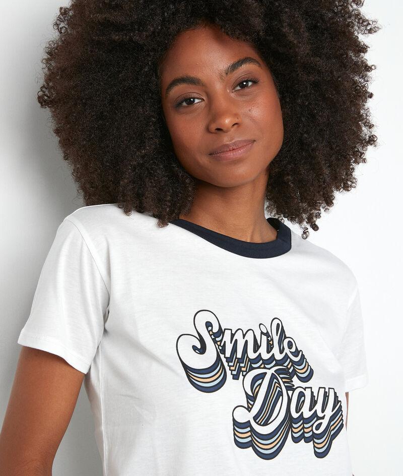 Tee-shirt à message blanc et et bleu en coton biologique Eldorado PhotoZ | 1-2-3