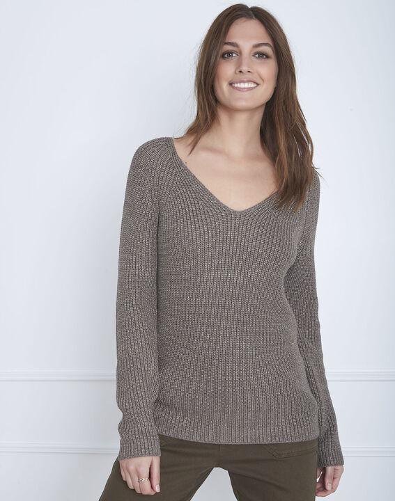 Kakifarbener Pullover aus Lurex-Gewebe Aboukir (2) - Maison 123