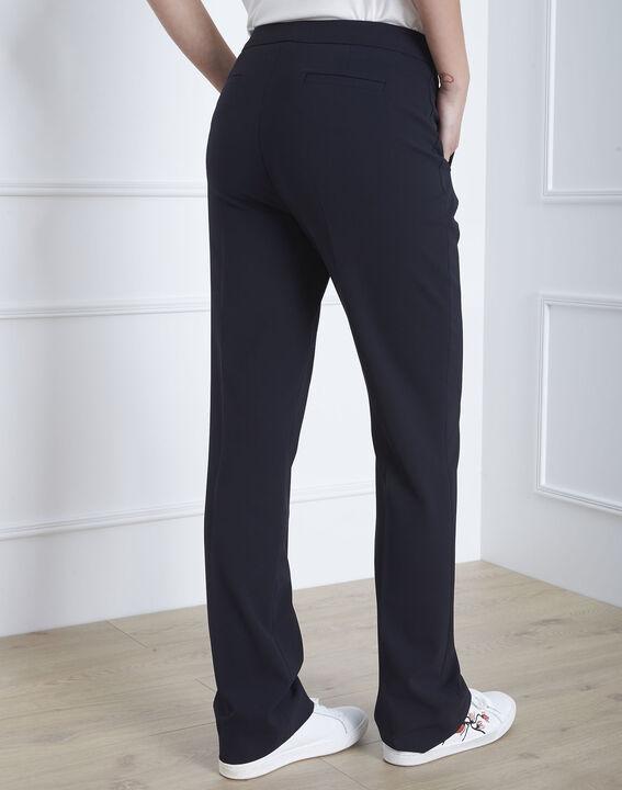 Pantalon marine droit en microfibre à ceinture boutonnée Hugo (4) - Maison 123
