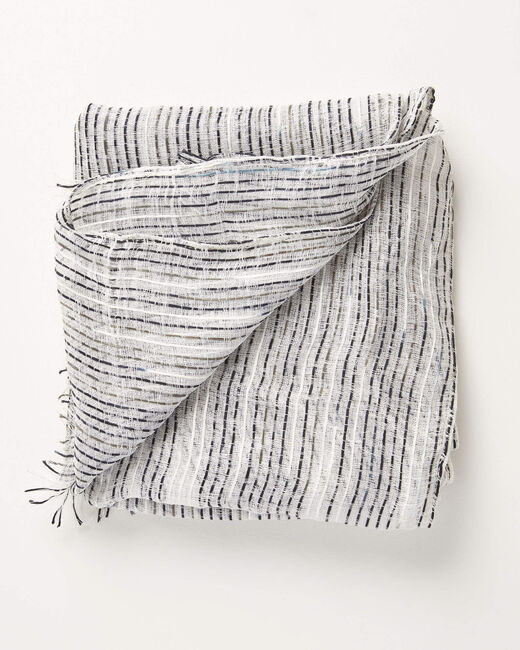 Foulard noir et blanc à rayures irrisées Aby (2) - 1-2-3